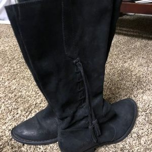 Black Suede Born Boots with tassel